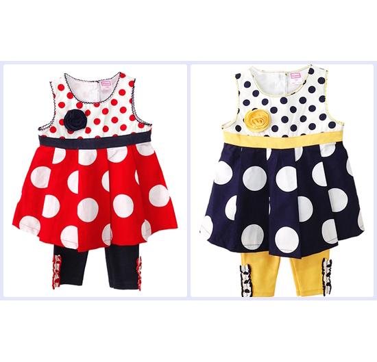 เสื้อผ้าเด็กขายส่งยกแพค 6 ชุดรวม 2 สีครบไซส์ ชุดเลกกิ้งเสื้อลายจุดสุดเก๋ แต่งกุหลายที่หน้าอก Size 12, 18, 24 เดือน