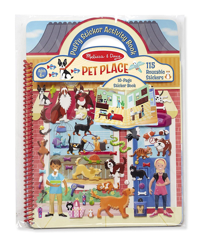 ชุดสติกเกอร์นูน ติดลอกได้ Melissa & Doug Puffy Reusable Sticker Book ลายร้านสัตว์เลี้ยง