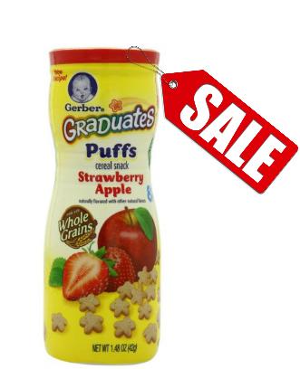 ขนมสำหรับเด็กGerber Graduates Puffs Cereal Snack, Strawberry-Apple รสสตอเบรี่ กับแอ๊ปเปิ้ล ++ พร้อมส่ง++ exp 17 /09/16