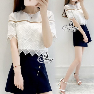 Sevy Two Pieces Of Lace Blouse With Oblique Shorts Sets