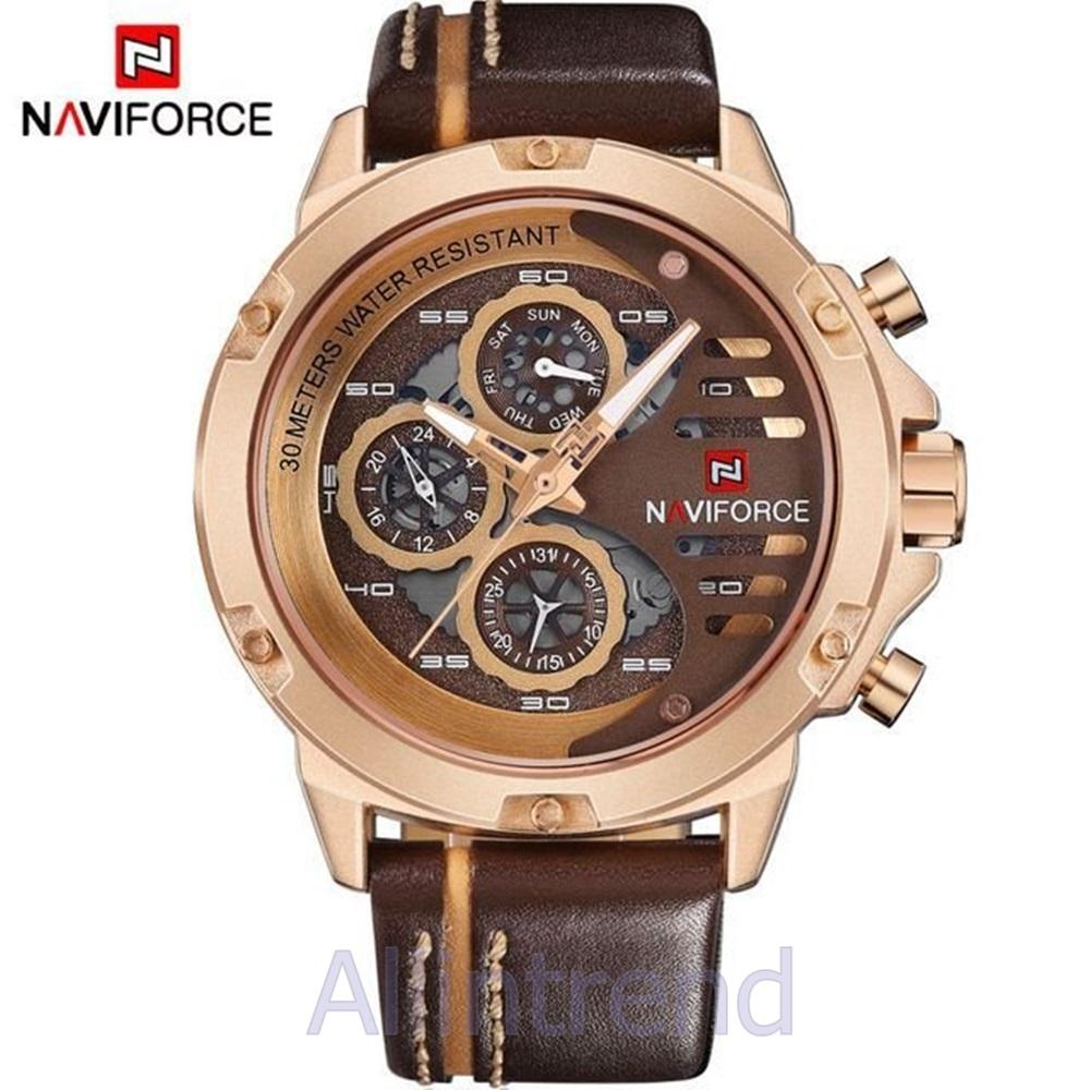 นาฬิกา Naviforce รุ่น NF9110M สีทองชมพู สายสีน้ำตาลขีดสีแทน ของแท้ รับประกันศูนย์ 1 ปี ส่งพร้อมกล่อง และใบรับประกันศูนย์ ราคาถูกที่สุด