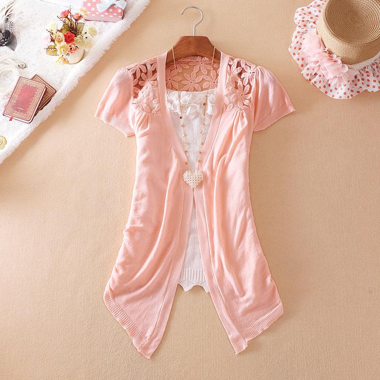 (Pre Order) เสื้อคุมเกาหลีแขนสั้นเนื้อผ้าฝ้าย มี 7 สี ชมพู,ดำ,เหลือง,ฟ้า,ขาว,ส้ม ขนาด - Free Size