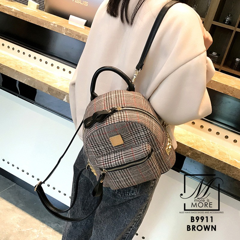 กระเป๋าสะพายเป้กระเป๋าถือ เป้แฟชั่นนำเข้าแบรนด์ BEIBAOBAO แท้ B9911-BRO (สีน้ำตาล)