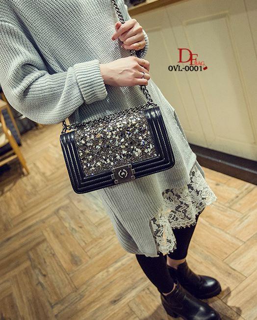 กระเป๋าแฟชั่นนำเข้าสะพายข้าง style CHANEL BOY OVL-0001L-BLK (สีดำ)