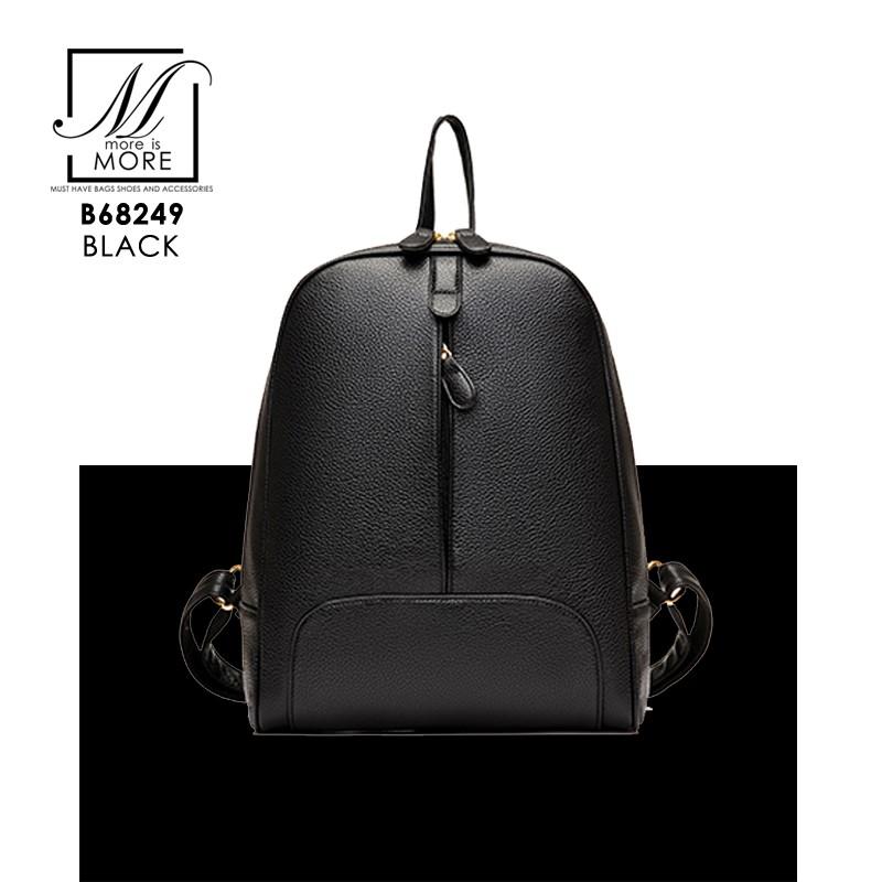 กระเป๋าสะพายเป้กระเป๋าถือ เป้แฟชั่นนำเข้าดีไซน์เก๋ส์ B68249-BLK (สีดำ)