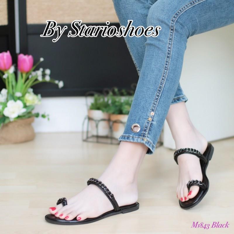 พร้อมส่ง รองเท้าแตะผู้หญิง M1843-BLK [สีดำ]