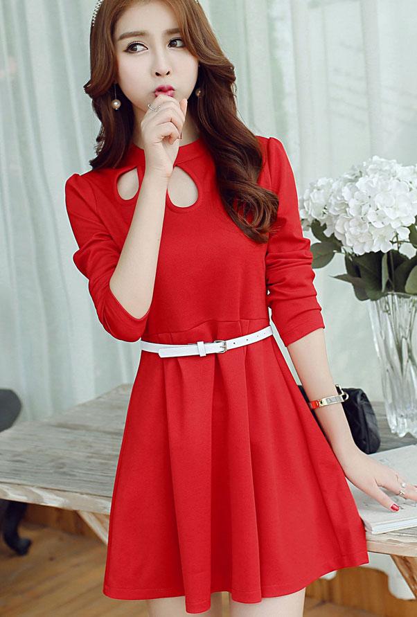 ชุดเดรสแฟชั่นเกาหลีสีแดงสวยๆ