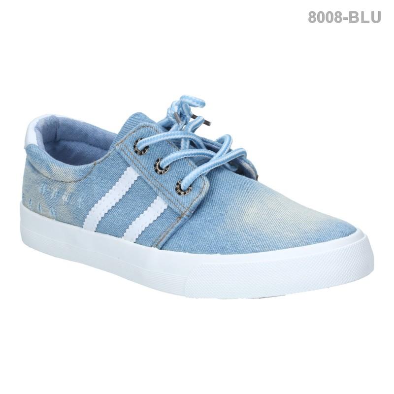 รองเท้าผ้าใบผู้หญิง แบบผูกเชือก สวนใส่สบาย (สีฟ้า )