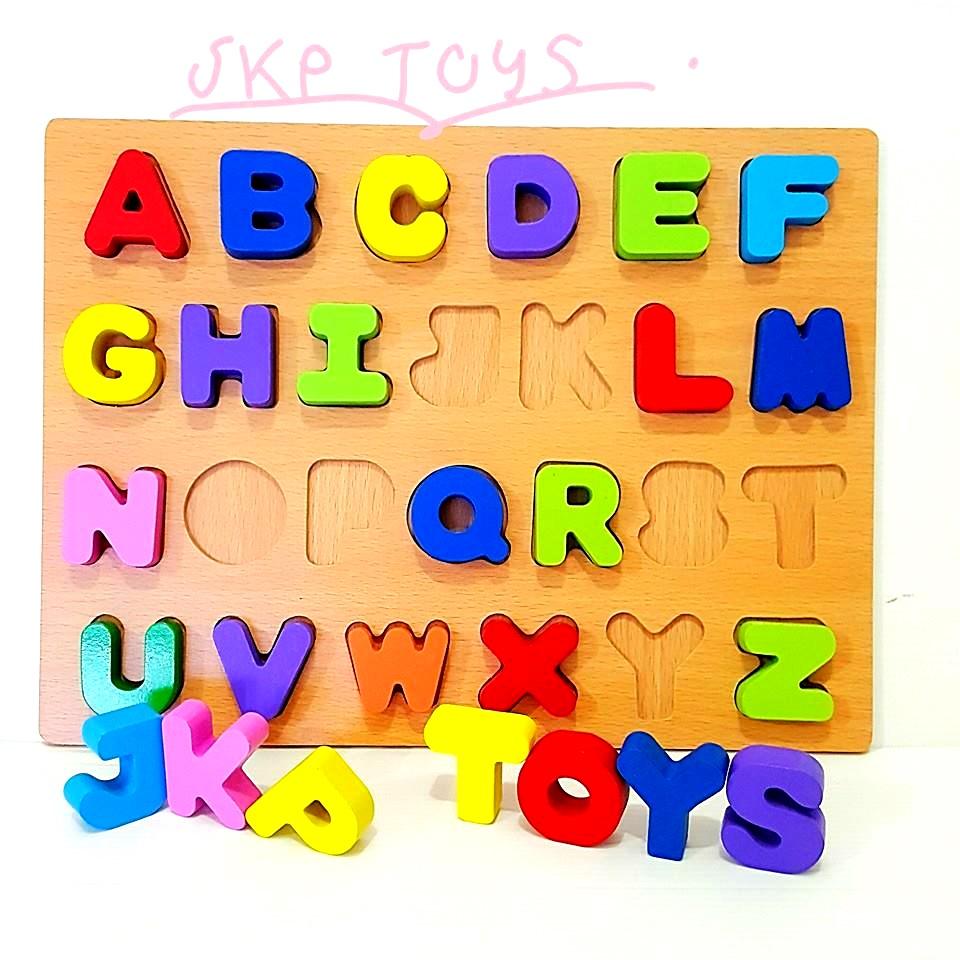 ของเล่นเสริมพัฒนาการ ของเล่นไม้ ชุดกระดานนูน A-Z