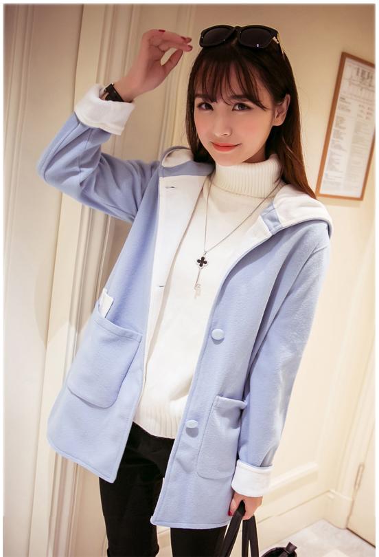 รับตัวแทนจำหน่ายเสื้อกันหนาวแฟชั่นเกาหลีสีฟ้ามีหมวกคลุมขนแกะเทียม