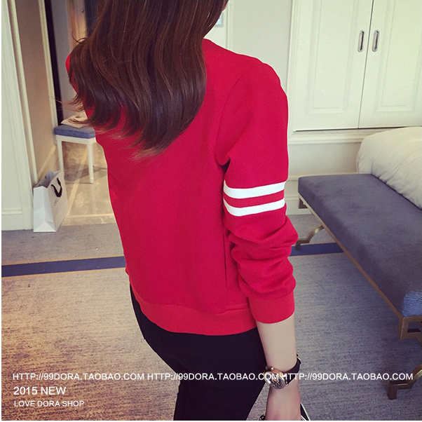 เสื้อกันหนาวแฟชั่นเกาหลีสีแดงแขนยาว