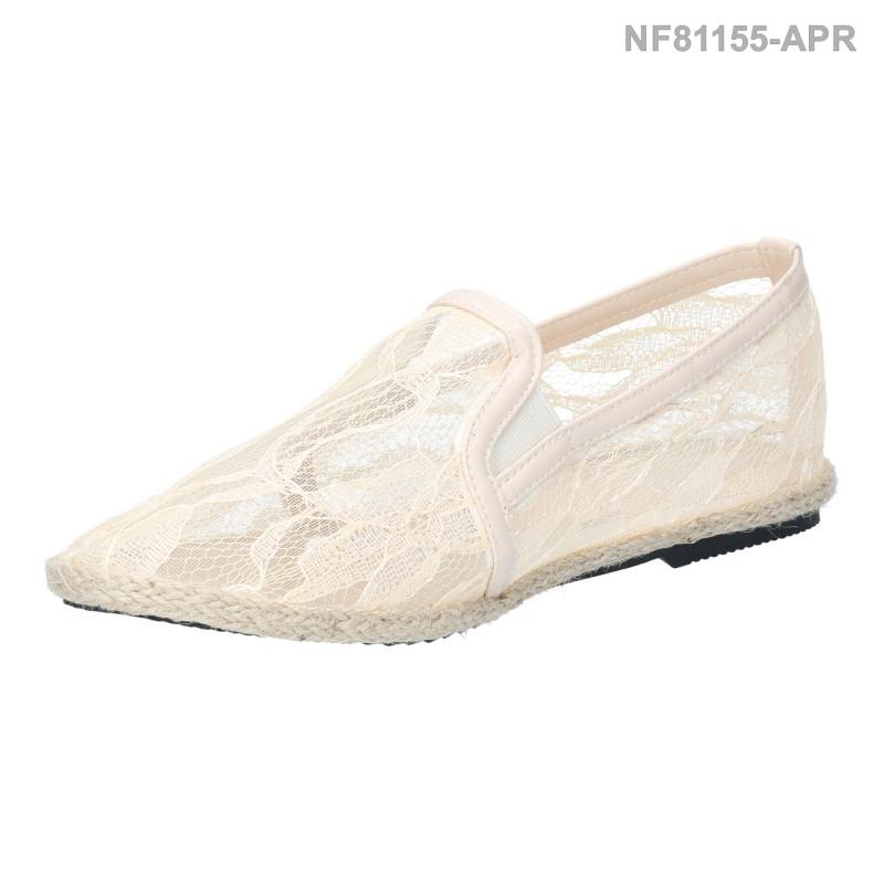 รองเท้าส้นแบน หุ้มส้น แบบสวม ผ้าลูกไม้ (สีแอปริคอท )