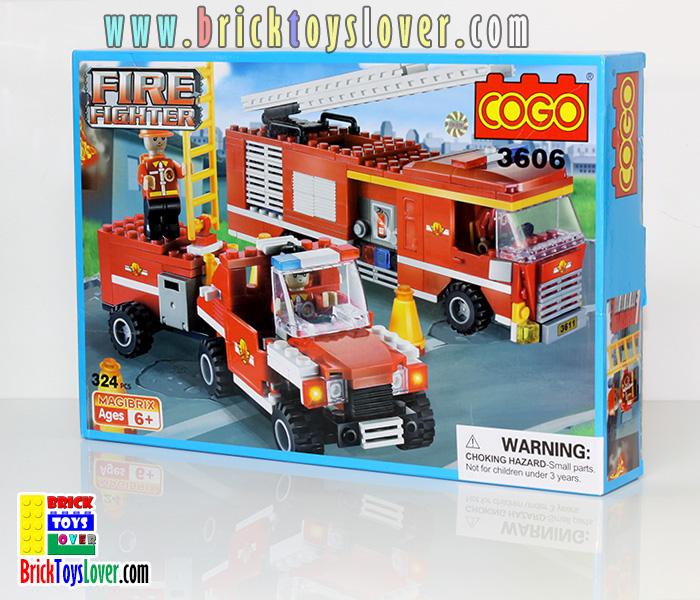 3606 ตัวต่อหน่วยกู้ภัย Fire Fighter รถฉีดน้ำดับเพลิงและทีมช่วยเหลือ