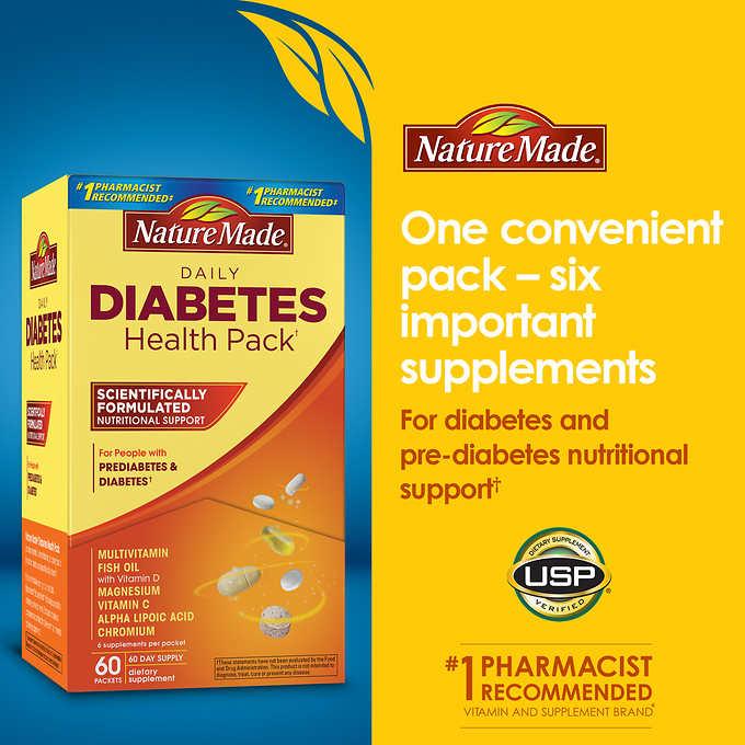 Nature made Daily Diabetes Health Pack 60 pockets วิตามินรวมสำหรับผู้ที่เป็นเบาหวานหรือผู้ที่อยู่ในภาวะกำลังจะเป็นเบาหวาน มีวิตามินครบในปริมาณที่พอเหมาะกับความต้องการของผู้ที่เป็นเบาหวานค่ะ