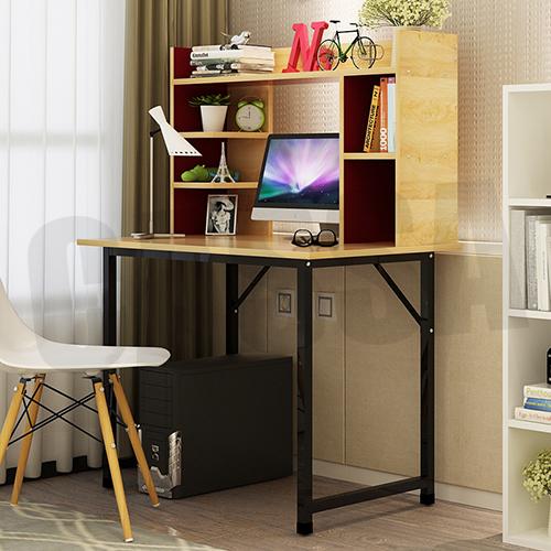 CASSA โต๊ะคอมพิวเตอร์ พร้อมที่วางเคส พร้อมชั้นวางหนังสือ ด้านบน (สีลายไม้-โครงดำ) ขนาด100x60cm. รุ่น F07-100X60CM-YB