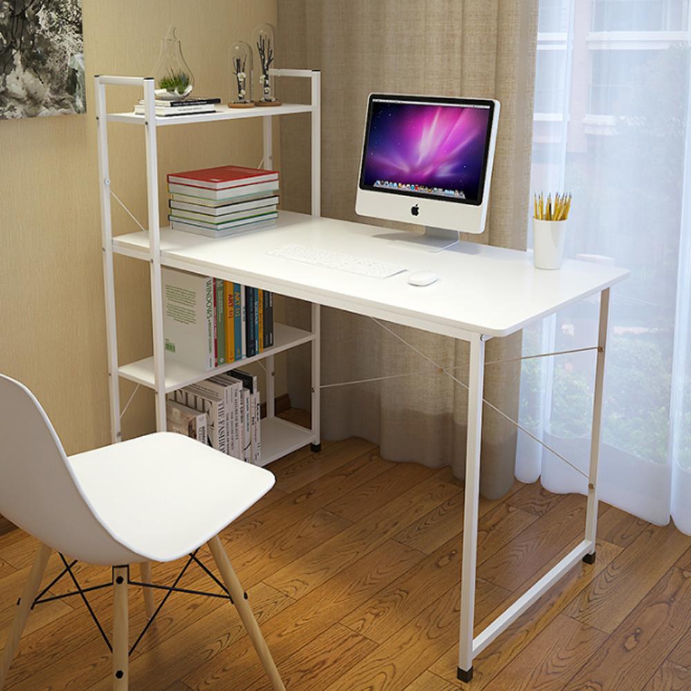 โต๊ะคอมพิวเตอร์ พร้อมชั้นวางหนังสือ (สีขาว) ขนาด120X60cm. รุ่น 218-H120X60CM-WW