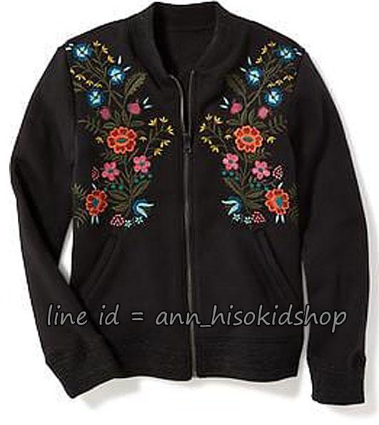 1964Old Navy Floral-Embroidered-Fleece-Bomber-Jacket- Black ขนาด 10-12 ปี (๋ส่งฟรี ลทบ.)