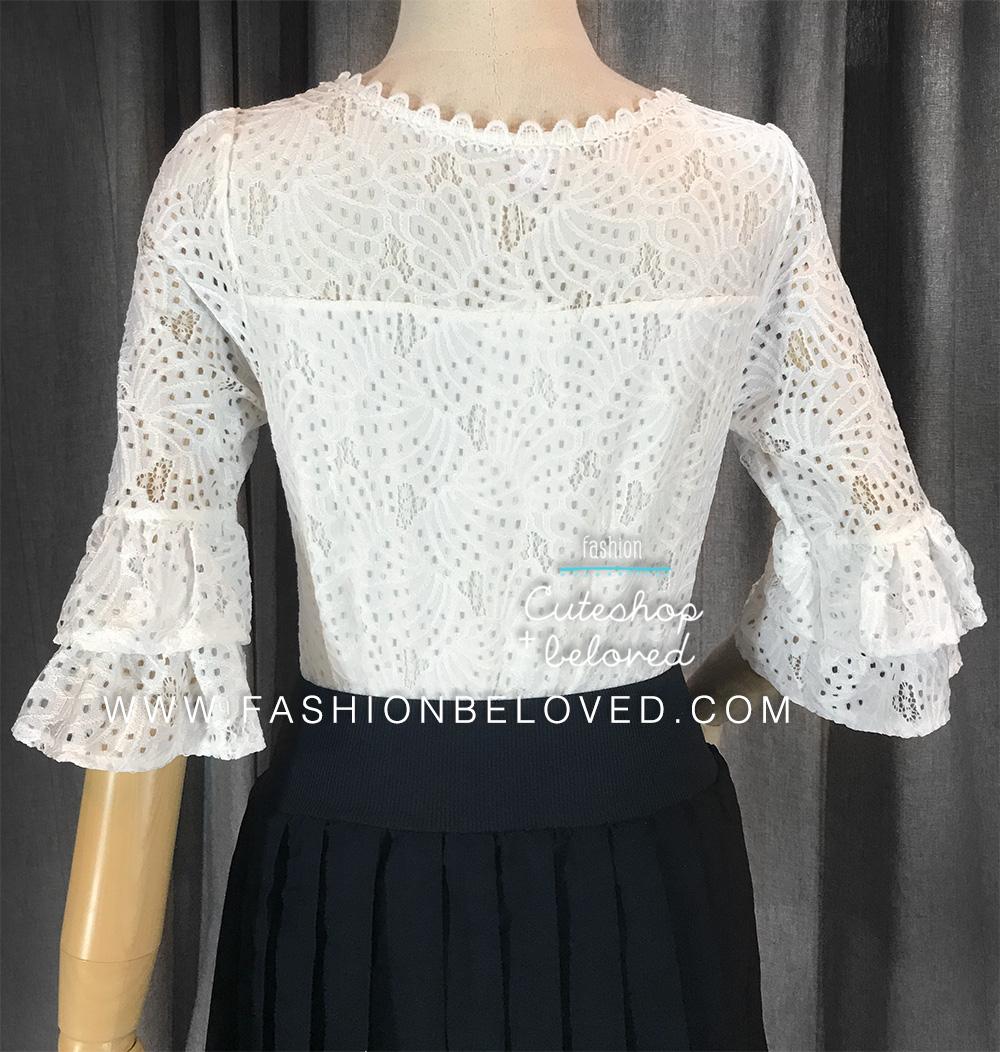 เสื้อลูกไม้สวยๆ แฟชั่นเกาหลี สีขาว เสื้อลายลูกไม้แขนสามส่วน ใส่สบายๆ