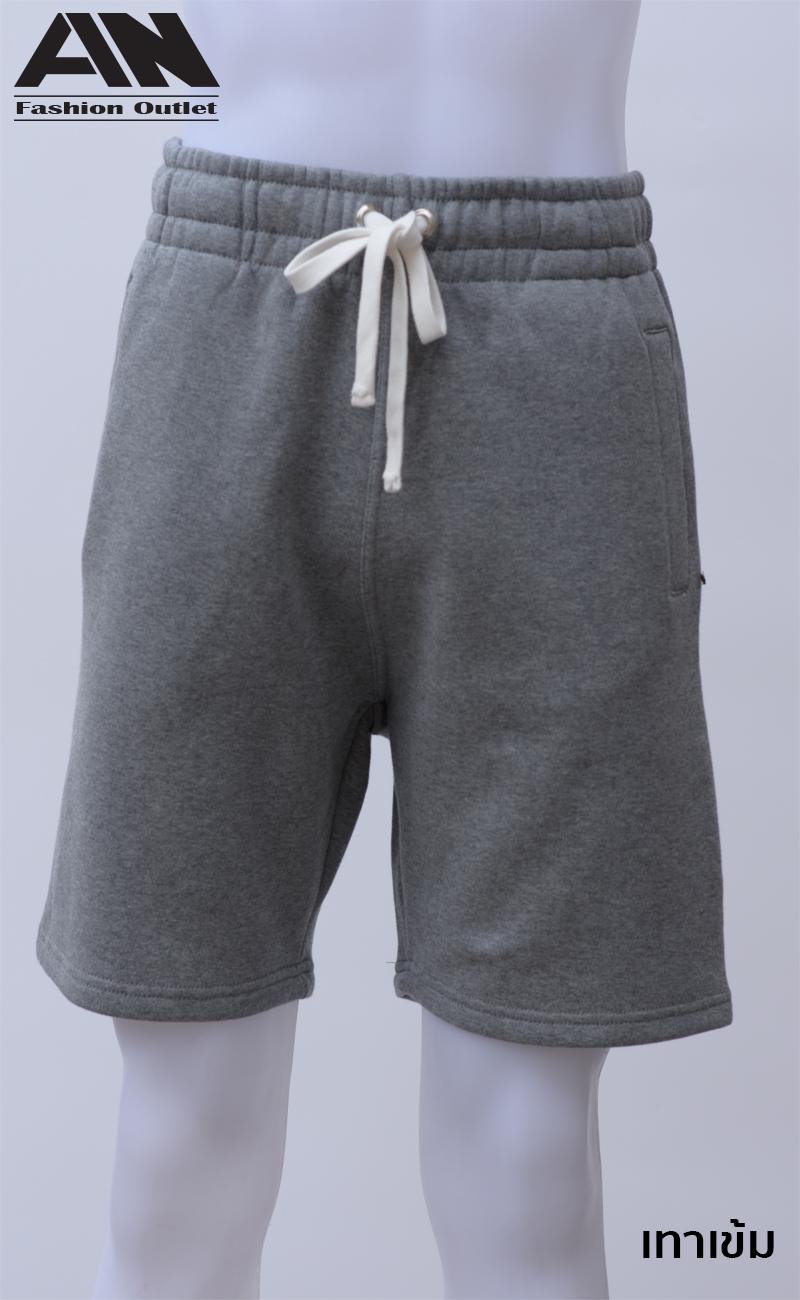 กางเกงกีฬาขาสั้นเอวยืด สีเทาเข้ม