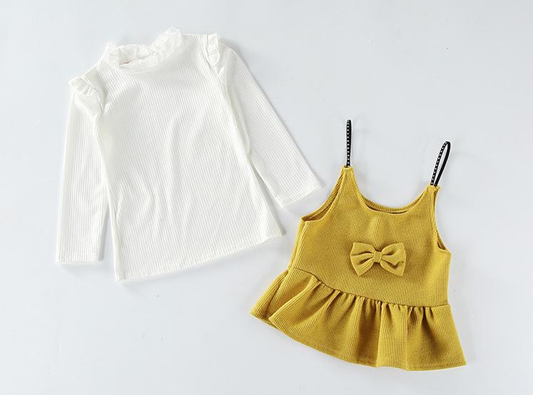 เสื้อตัวนอก+เสื้อตัวใน สีเหลือง แพ็ค 5 ชุด ไซส์ 80-90-100-110-120 (เลือกไซส์ได้)