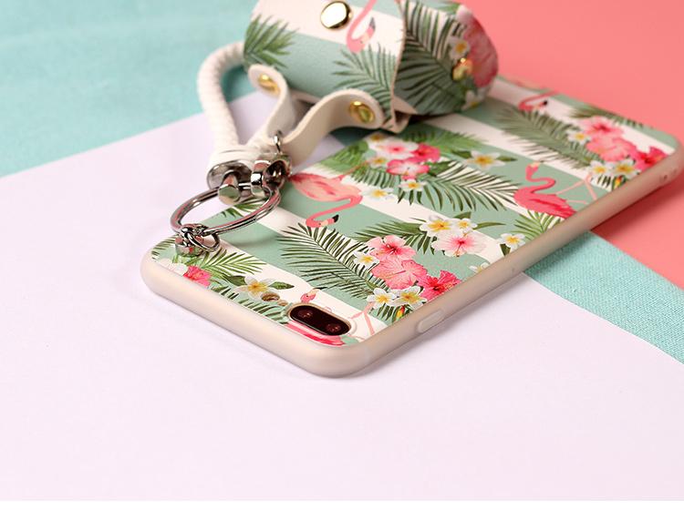 เคส iPhone 7 (4.7 นิ้ว) พลาสติก TPU ลายนกฟลามิงโกน่ารักมากๆ พร้อมสายคล้องมือและกระเป๋าเก็บสายหูฟัง ราคาถูก