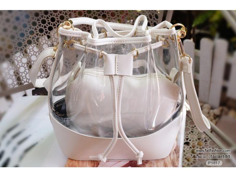กระเป๋าพลาสติกแบบใส ทรงขนมจีบ พร้อมใบเล็กด้านในแยกได้