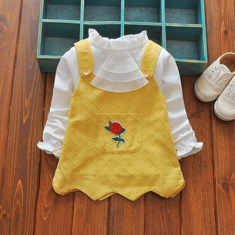 ชุดเซตเสื้อแขนยาวสีขาว+เอี๊ยมลายกุหลาบสีเหลือง [size 6m-1y-2y-3y]