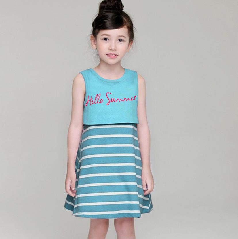 ชุดเดรส Hello Summer สีฟ้า [size: 1y-2y-4y]