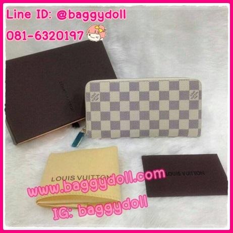 Louis Vuitton Azur Damier Canvas Zippy Wallet กระเป๋าสตางค์หลุยส์ ใบยาว ซิบรอบ **เกรดAAA+**