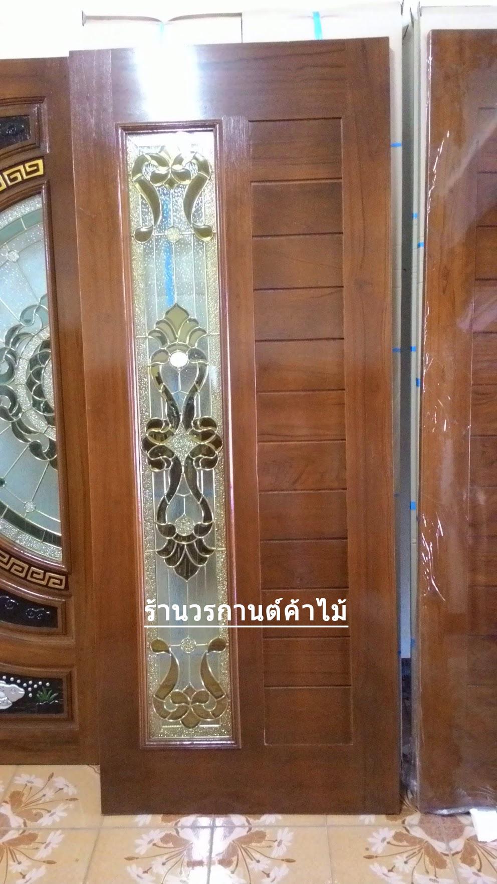 ประตูไม้สักกระจกนิรภัย โมเดิร์น เกรดA รหัส A68