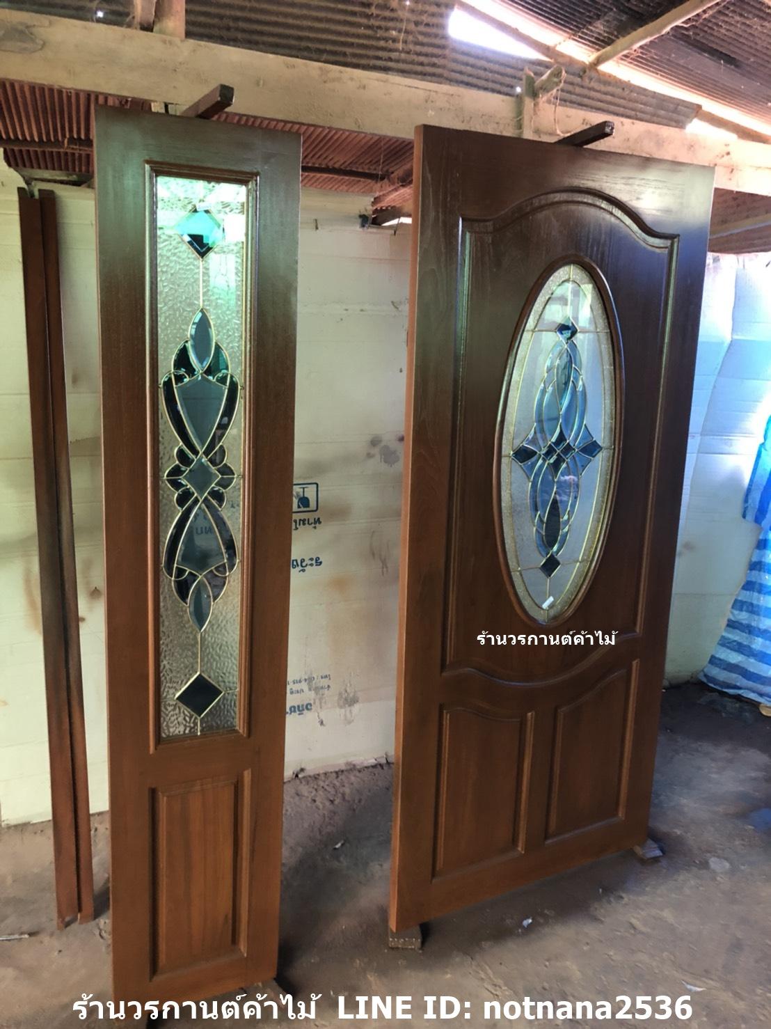 ประตูไม้สักกระจกนิรภัยวงรี ชุด4ชิ้น รหัสAAA107