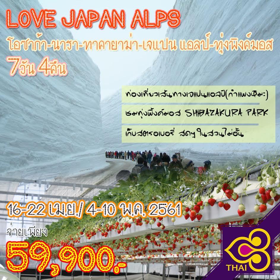 JGC LOVEALPS ทัวร์ ญ๊่ปุ่น LOVE JAPAN ALPS โอซาก้า นารา ทาคายาม่า เจแปน แอลป์ ทุ่งพิงค์มอส 7 วัน 4 คืน บิน TG