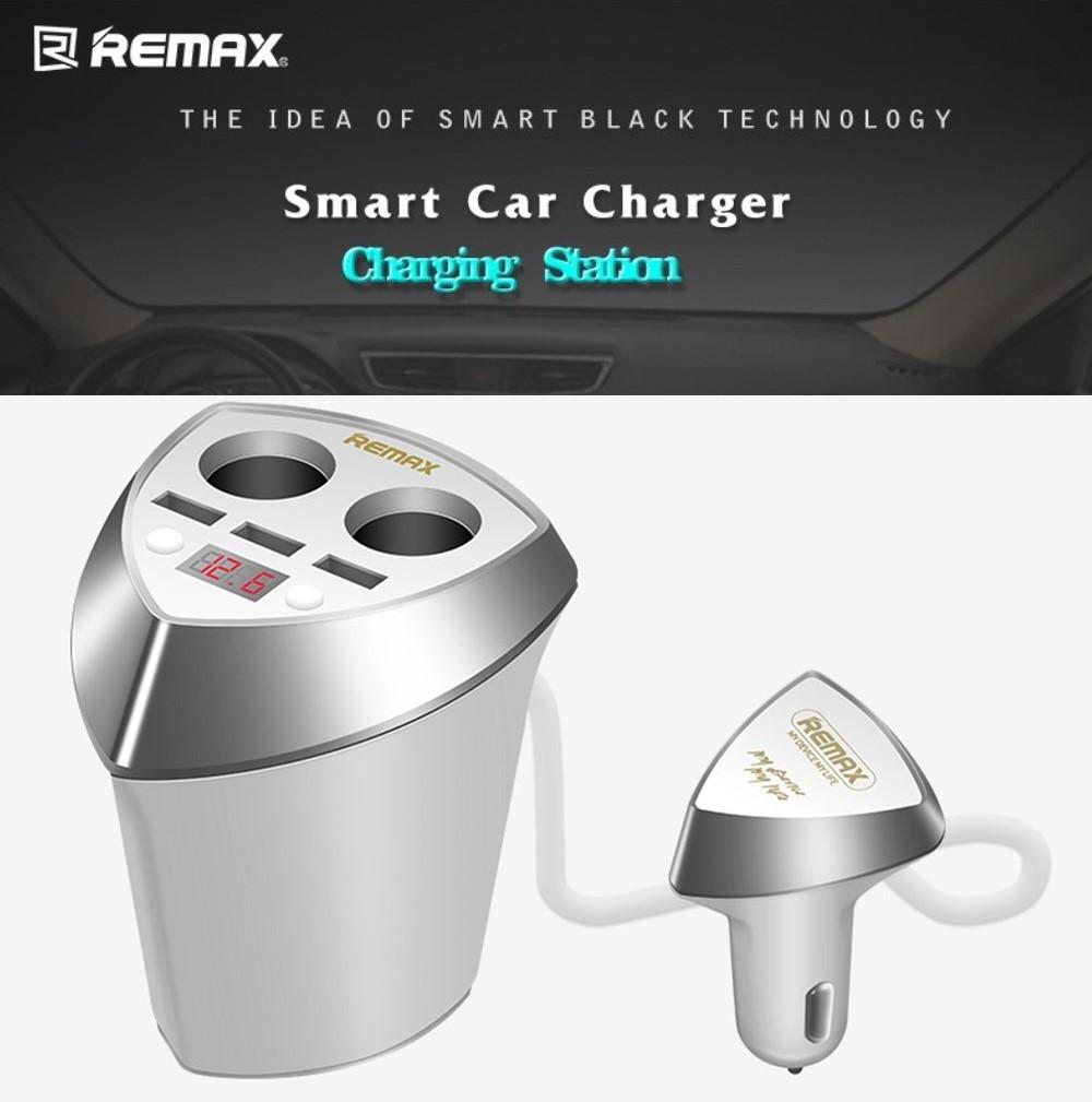 ตัวเพิ่มช่องที่จุดบุหรี่ 2 ช่อง + ที่ชาร์จ 3 USB REMAX CR-3XP สีขาว