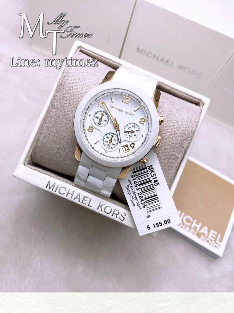 นาฬิกาข้อมือ MICHAEL KORS รุ่น Runway Silver Dial White Polyurethane Ladies Watch MK5145