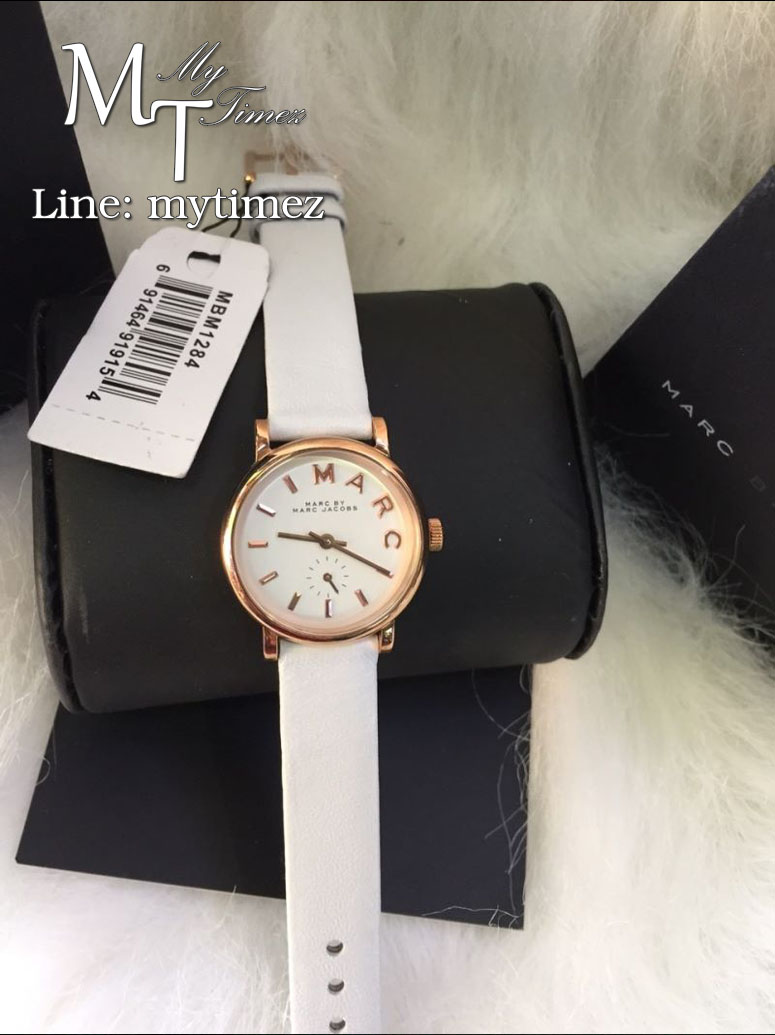 / MARC BY MARC JACOBS Baker White Dial White Leather Band Ladies Watch MBM1284