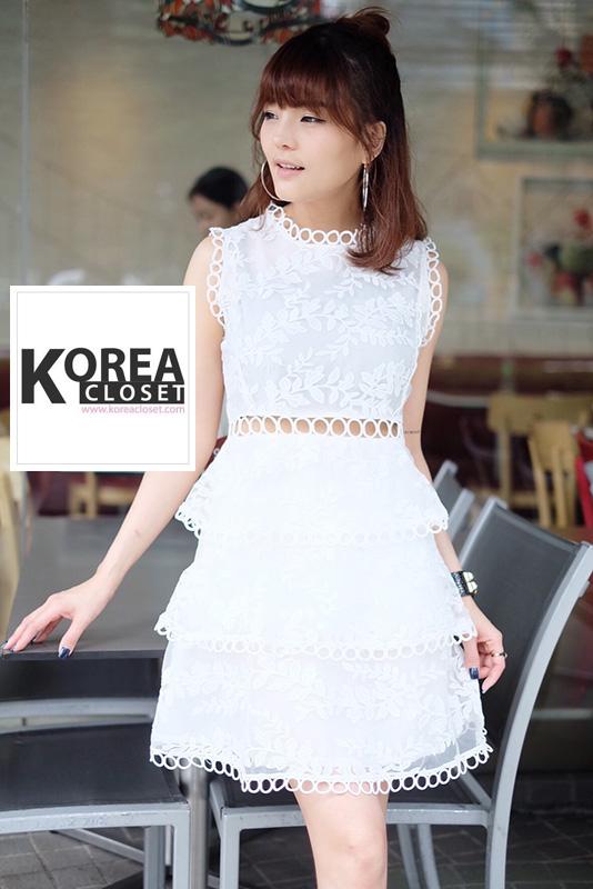 ชุดเดรสแฟชั่นลูกไม้ Lollita Lace Dress สีขาว