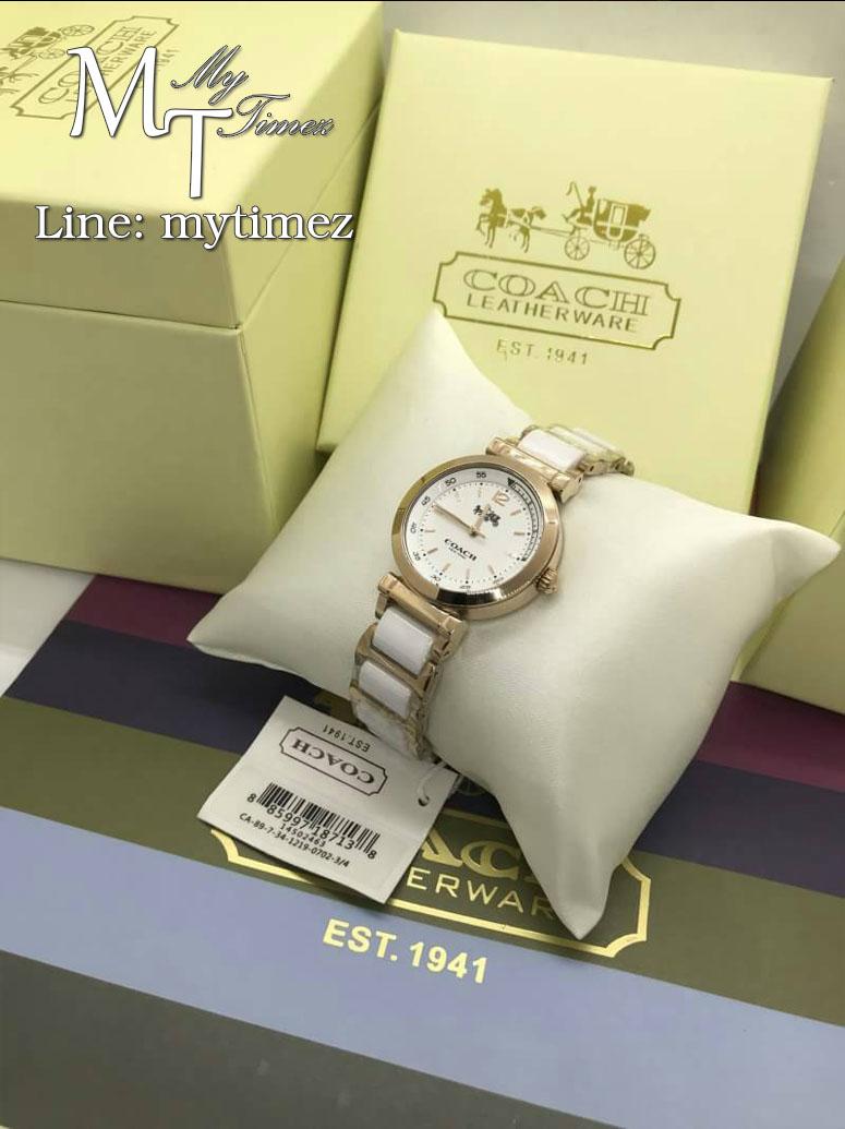 Coach 14502463 Rose Gold White Ceramic Ladies Bracelet Watch