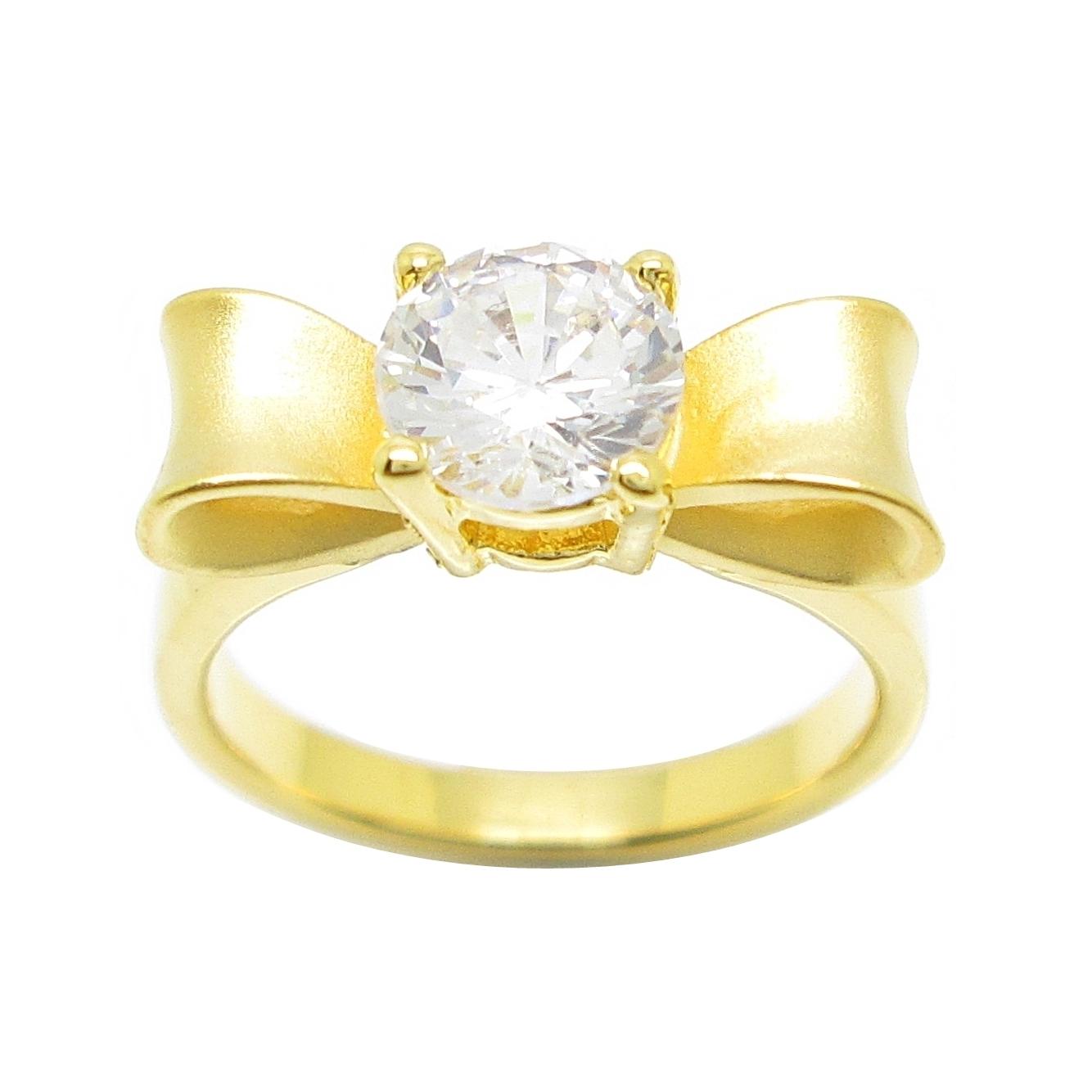 แหวนโบว์พ่นทรายประดับเพชรกะรัตชุบทอง