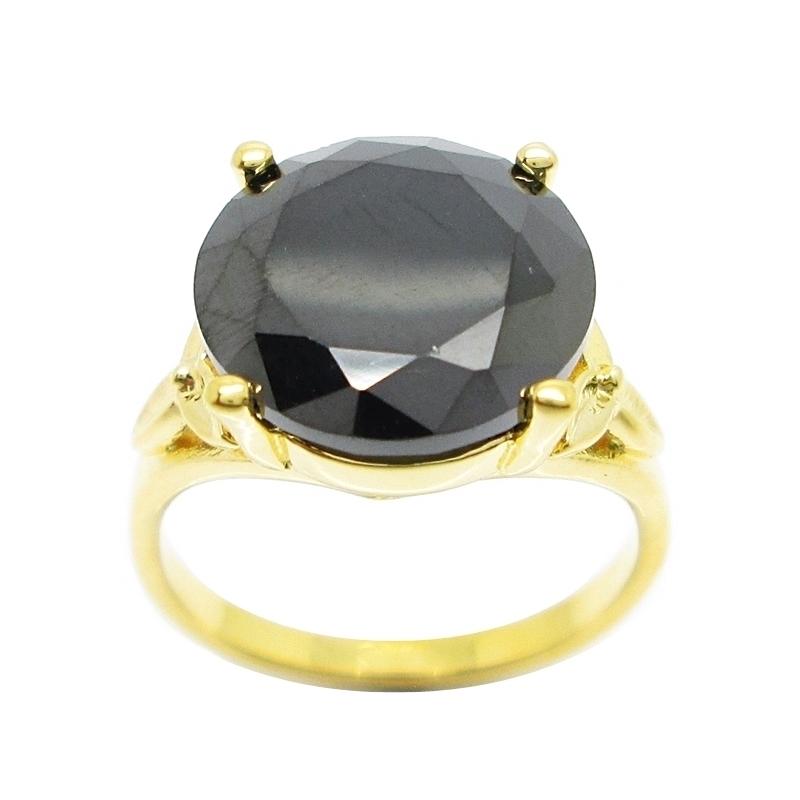 แหวนประดับพลอยกลมสีนิลชุบทอง