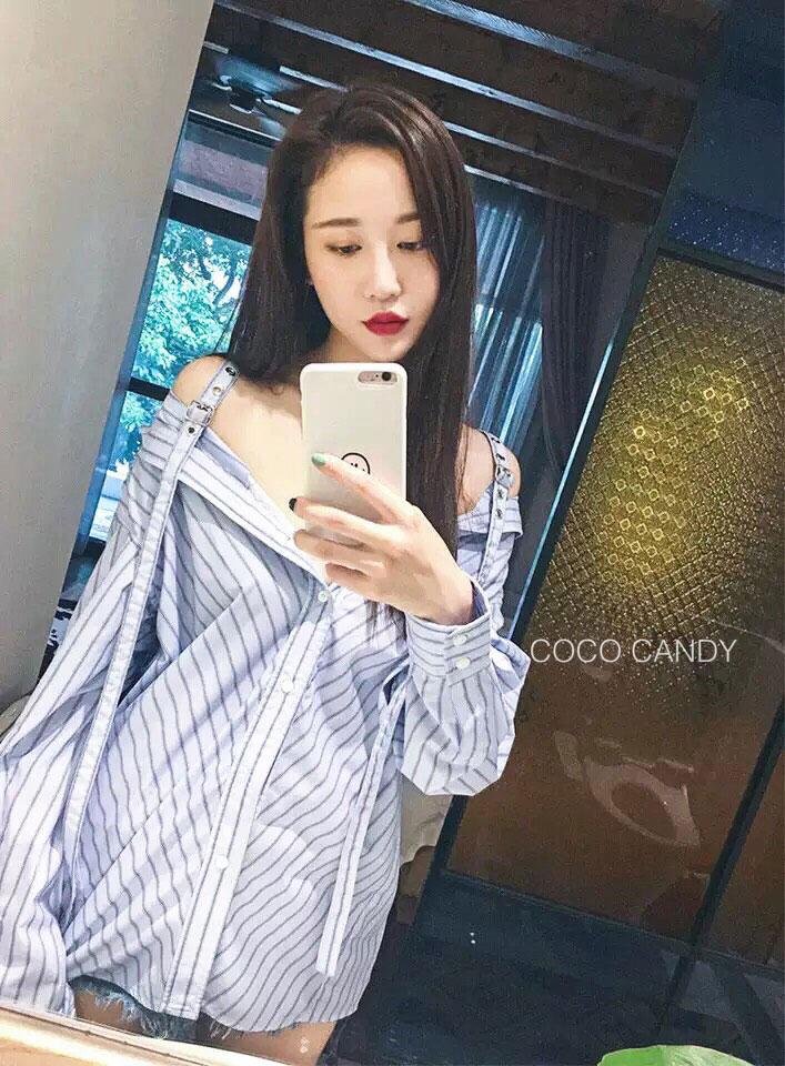 เสื้อเชิ๊ตแฟชั่น Stripe Strap Shirt