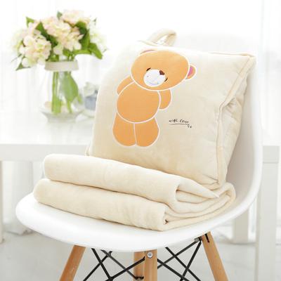 หมอนผ้าห่ม ลายเจ้าหมีน้อยเขินอาย สีครีม