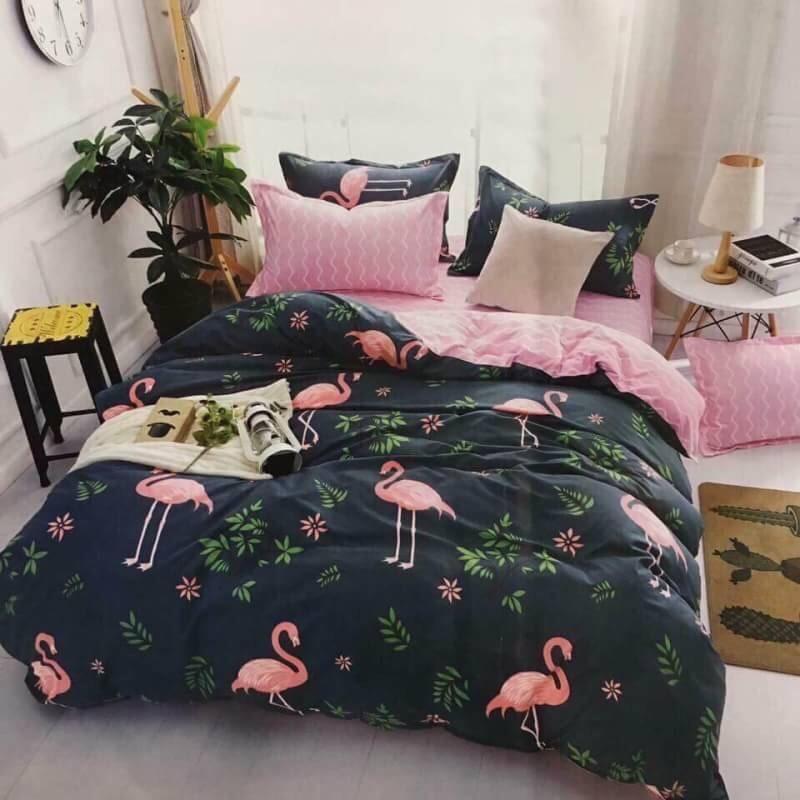 ชุดผ้าปูที่นอนเกรดพรีเมี่ยม นกฟามิงโก ขนาด 3.5,5,6 ฟุต ครบชุด 6 ชิ้น
