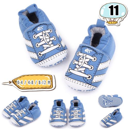 รองเท้าเด็กอ่อน ลายรองเท้าผ้าใบผูกเชือก สีฟ้า - Sky blue false lace