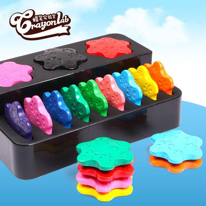 สีเทียนสำหรับเด็กเล็ก Food Grade ปลอดสารพิษ Crayonlab เซ็ต 12 สี (แบบแผ่น)