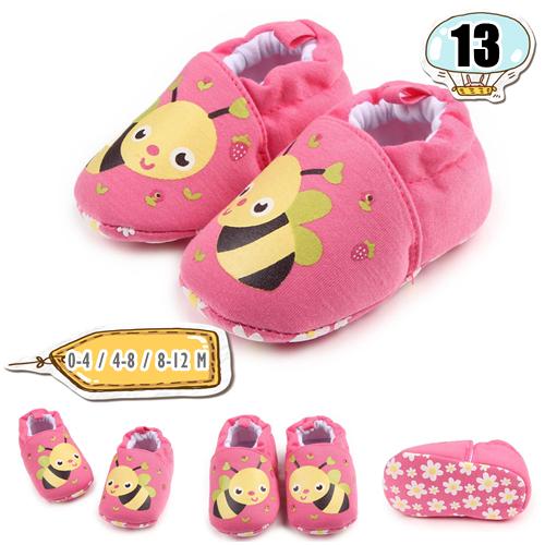 รองเท้าเด็กอ่อน ลายผึ้งน้อย สีชมพู - Red bee