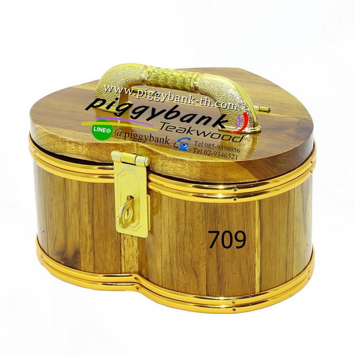 กระปุกออมสิน รูปหัวใจ สายยูคาดทอง - รหัส 709 - ขนาด 7 นิ้ว