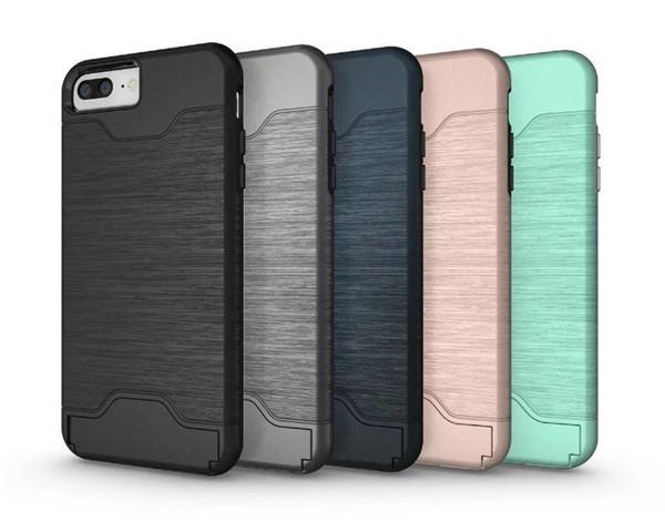 (436-169)เคสมือถือไอโฟน Case iPhone 6/6S เคสแข็งกึ่งนิ่มสไตล์กันกระแทกมีช่องใส่การ์ดด้านหลังและขาตั้งในตัว