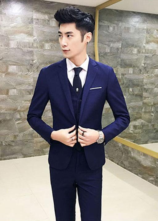 สูท,สูทแฟชั่น+เสื้อกั๊ก ครบเซต สีน้ำเงินกรมท่า คลิกเพื่อดู Size