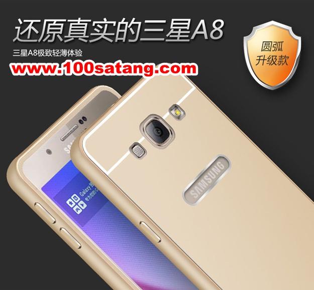 (025-129)เคสมือถือซัมซุง Case Samsung A8 เคสกรอบโลหะพื้นหลังอะคริลิคสีโลหะ