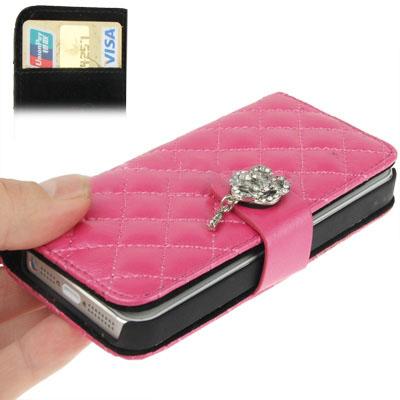 Case เคส Plaid Diamond Flower Button Flip iPhone 5(Magenta)